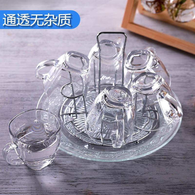 玻璃杯家用套装耐高温泡茶喝水杯无铅果汁牛奶杯带把杯子6只装
