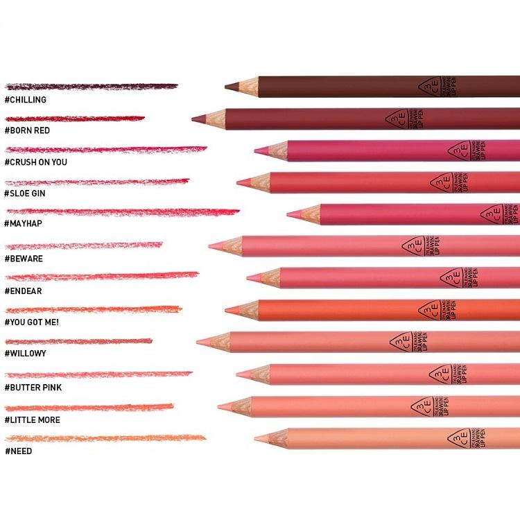 韩国正品 3CE 哑光雾面唇线笔咬唇妆蜡笔口红 持久口红笔 12色