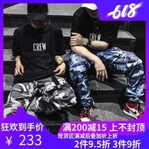 超火嘻哈休闲宽松国潮裤潮ins工装裤男春秋学生魔术贴束脚裤2019
