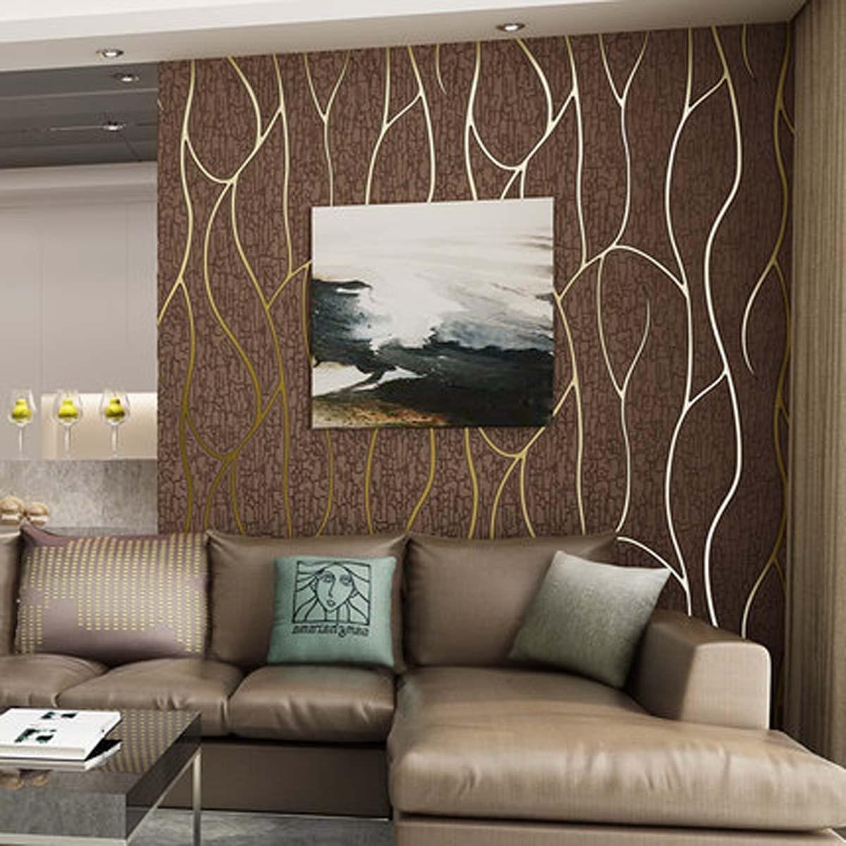 电视墙壁纸家用现代简约墙纸客厅3d立体大气背景墙曲线条纹家装修
