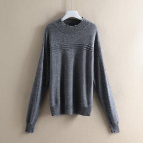 【桑】100全羊毛纯色 套头粗针毛衣女007品牌折扣店撤柜女装