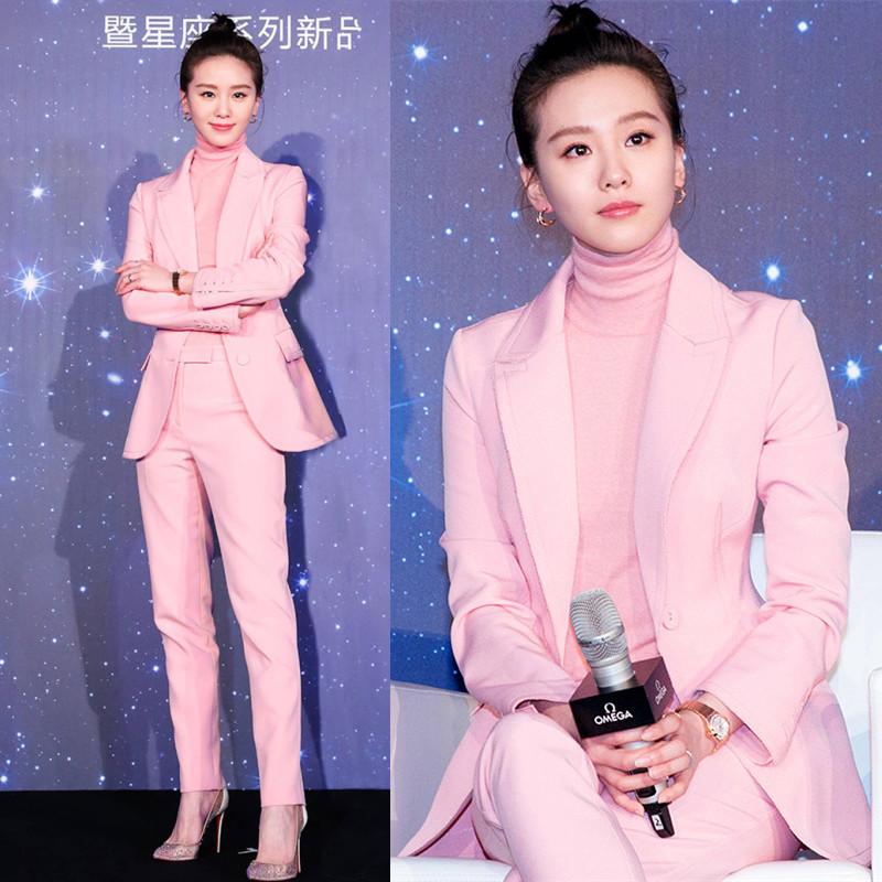 女式小香风西服外套两件套冬 套装 粉色ol职业小西装 明星刘诗诗同款
