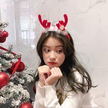超萌圣诞节头饰发箍女 2018新款红色鹿角发窟 可爱毛毛圣诞帽头箍