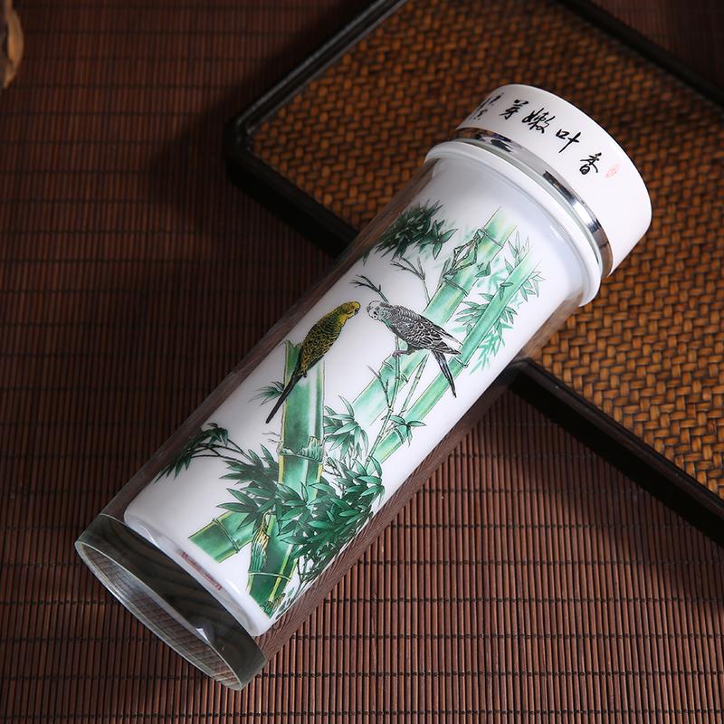 骨瓷水晶玻璃保温杯景德镇陶瓷双层内胆中式泡茶便携商务礼品定制