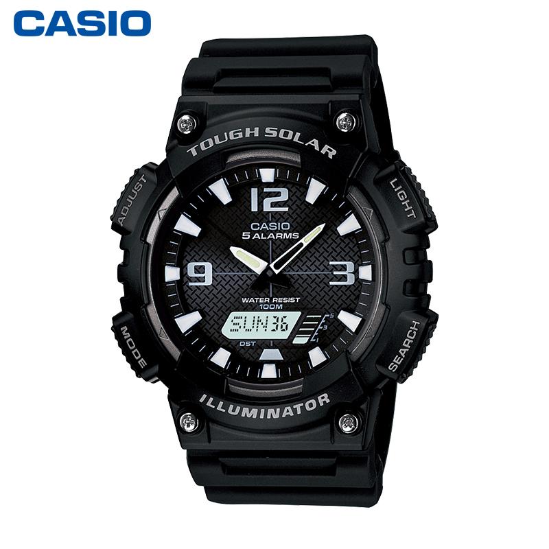 太阳能运动防水石英男表数字双显夜光时尚手表 S810W AQ 卡西欧手表