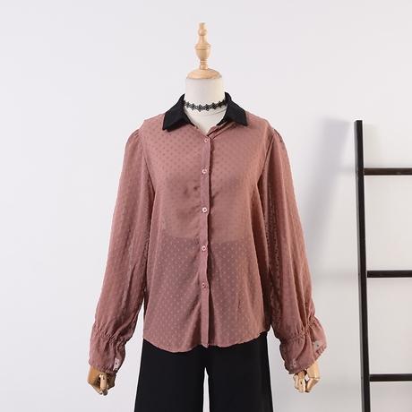 cafe女装C*22 春季新款韩版POLO领开衫单排扣微透雪纺衫商品大图