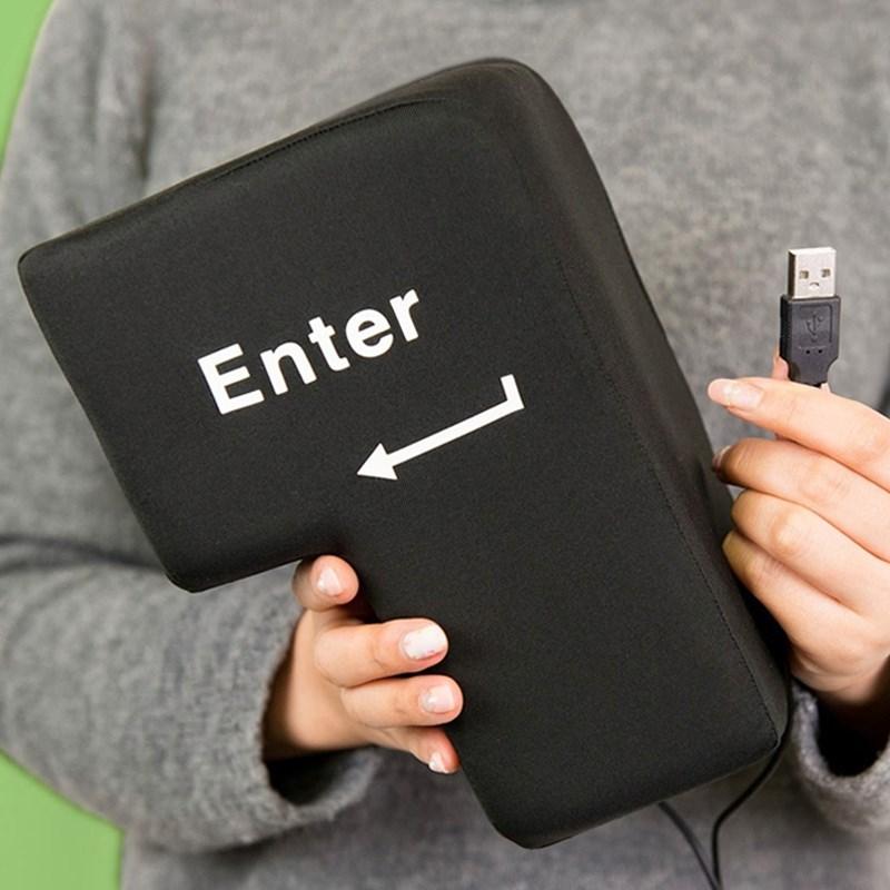 USB Big Enter创意电脑外接巨号的 超大回车按键 午睡枕发泄礼物