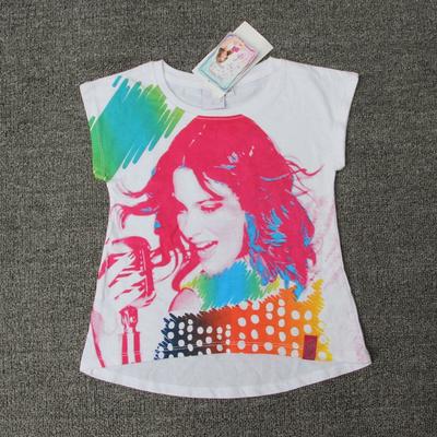 外贸原单夏季儿童装女童彩色印花T恤女宝宝短袖纯棉半袖上衣全棉
