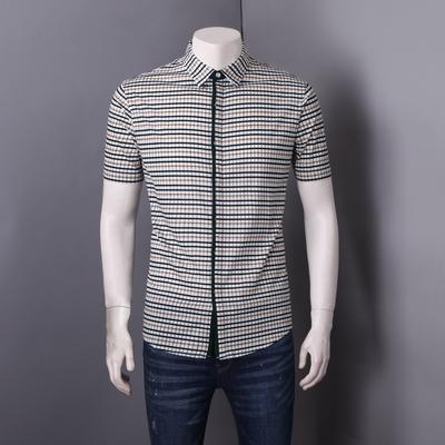 罗米欧男装夏季新款时尚格纹方领商务休闲男士针织短袖衬衫C2T261