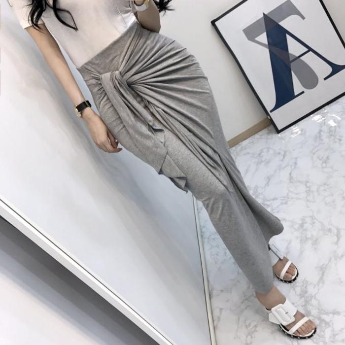 韩国代购正品2019春新款女装气质性感淑女高纯腰带半身裙长裙