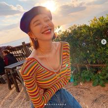 韩国代购东大门2019秋季 泫雅风彩虹条纹v领t恤长袖上衣女装