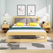 女孩组装柜子床一体胡桃木色省空间午睡床儿童床休息法式结实中式