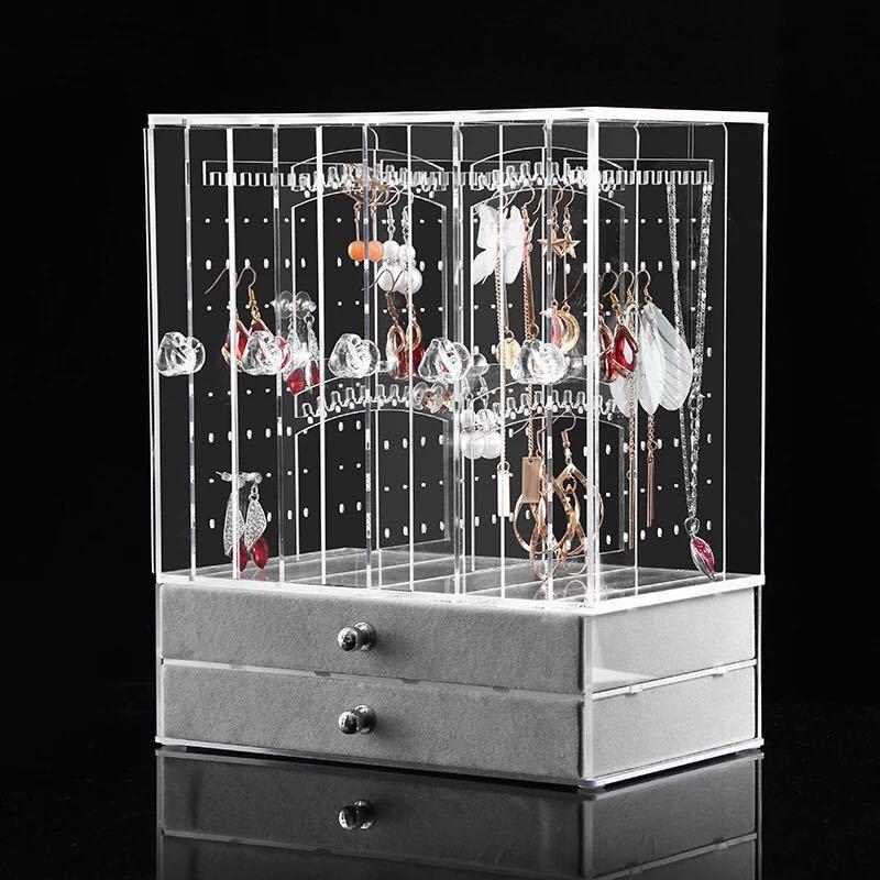 亚克力耳钉收纳盒挂墙耳环收集盒饰品架子多功能首饰防尘储物盒子