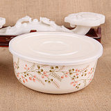 Five and melamine tableware fresh bowl large / medium / small three-piece set with lid storage box instant noodles bowl peach color