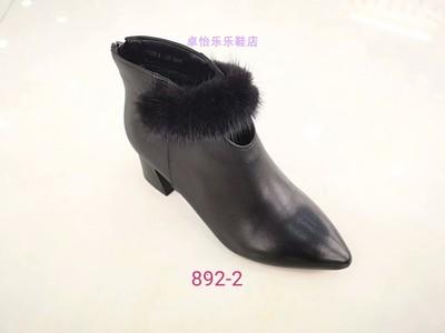 卓怡头层牛皮女鞋892-2专柜正品2018冬季新款中粗跟加绒棉短靴