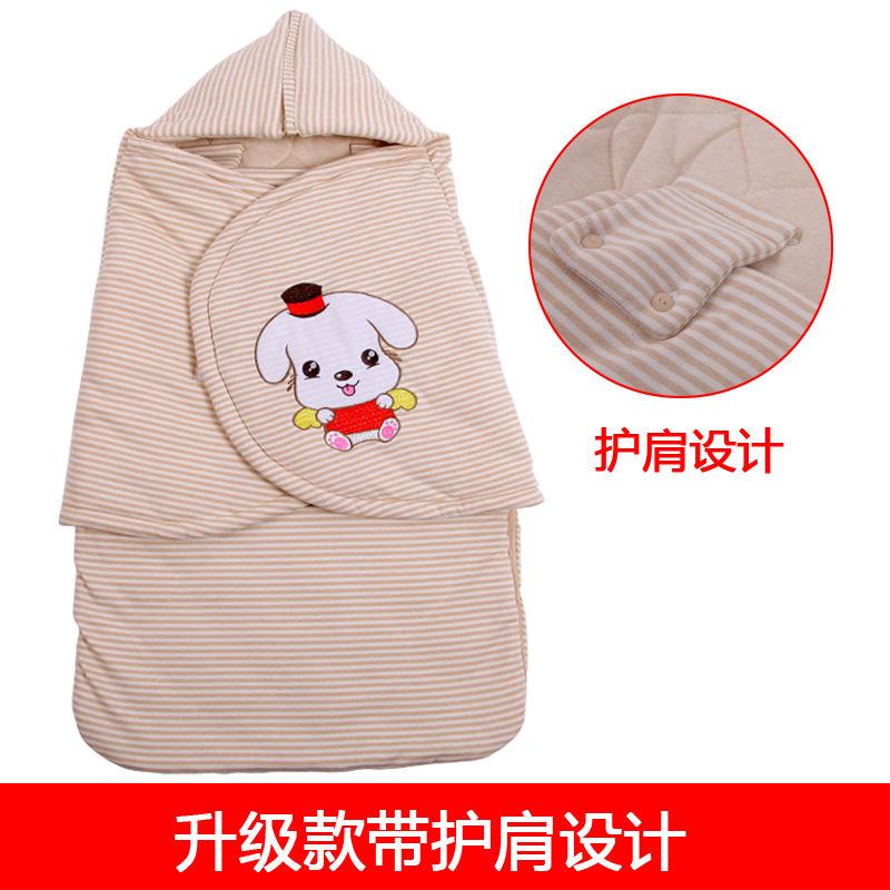 加厚冬季婴儿抱被新生儿睡袋包被襁褓纯棉宝宝防踢被带帽子