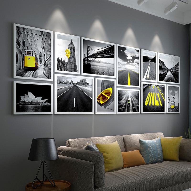 客厅挂画实木照片墙现代挂墙相框组合企业文化墙壁画框餐厅装饰画