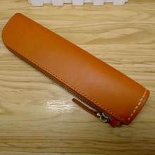 拉链真皮商务办公笔袋大容量成人男士女士简约厚植鞣牛皮D656