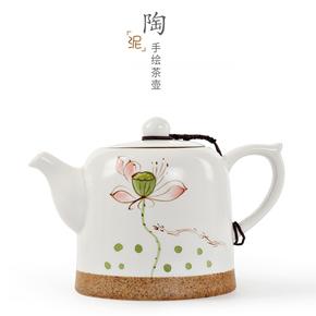 茗姿 陶瓷手绘泡茶壶 过滤茶壶泡茶器家用功夫茶具手抓壶单壶水壶