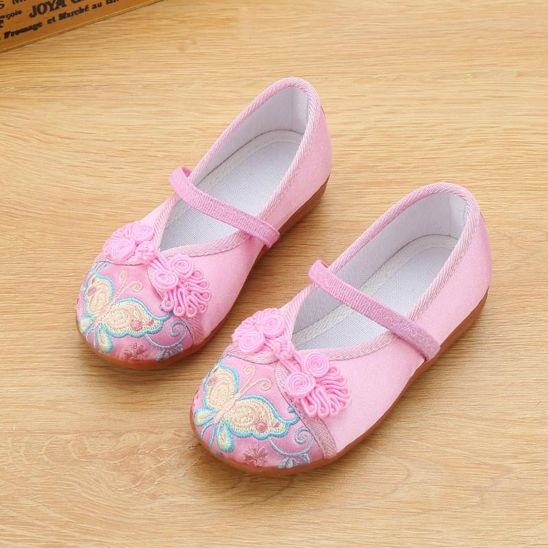 老北京儿童手工布鞋女童鞋民族风绣花鞋舞蹈表演出鞋女休闲鞋学生