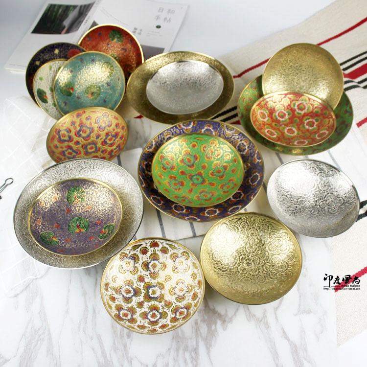 印度风尚进口黄铜碗手工雕刻彩绘图案创意饰品摆件铜盘工艺品包邮