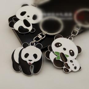 国宝熊猫汽车钥匙扣男士女士金属汽车创意挂件激光中国风小礼品