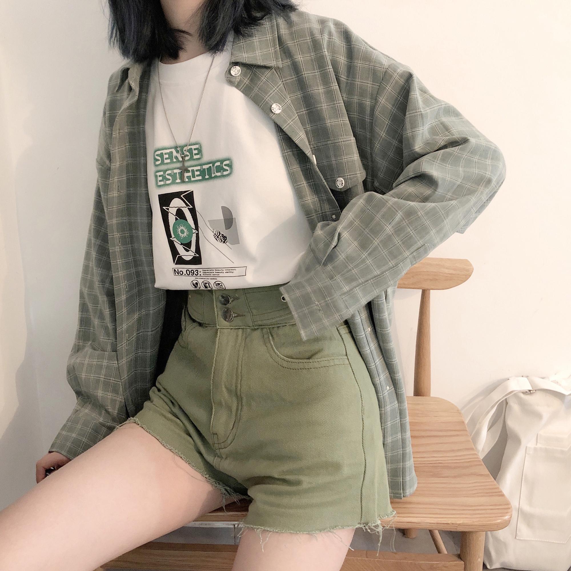 PINKSAVIOR高级感绿格夏季防晒特别款衬衫
