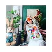 贾cuicui自制泰国潮牌刺绣钉珠仙女宫廷立体手工花朵蕾丝套头毛衣