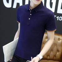 保罗衫夏季纯色翻领短袖款T恤男版 修身青年商务休闲衬衫领polo衫