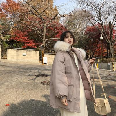JHXC大毛领连帽工装棉服女中长款2018冬季新款韩版宽松bf棉衣外套