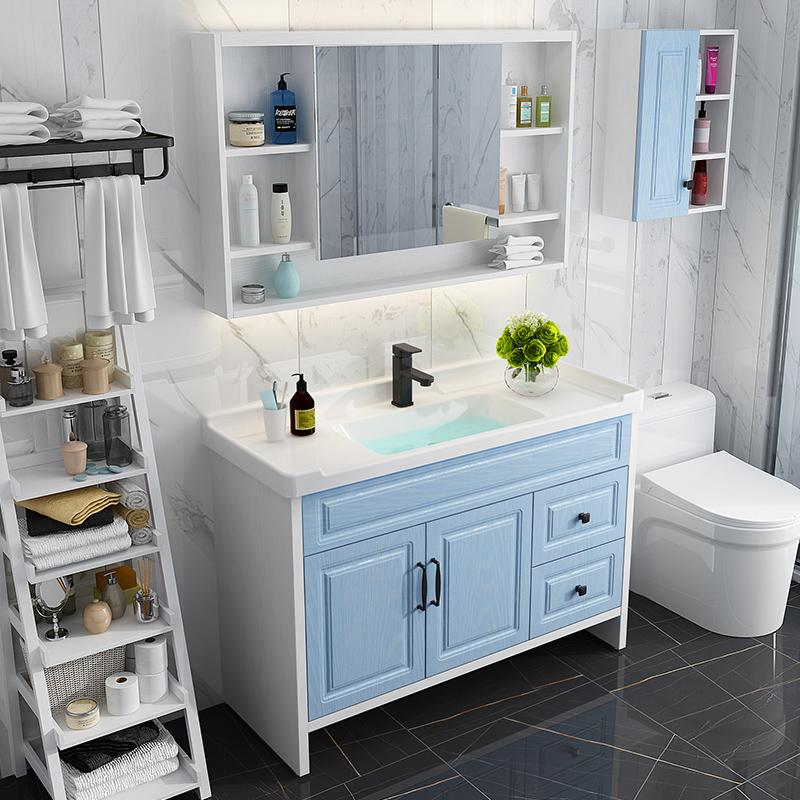 地中海蓝色卫生间卫浴套装洗脸盆实木浴室柜组合洗手洗漱台盆镜柜