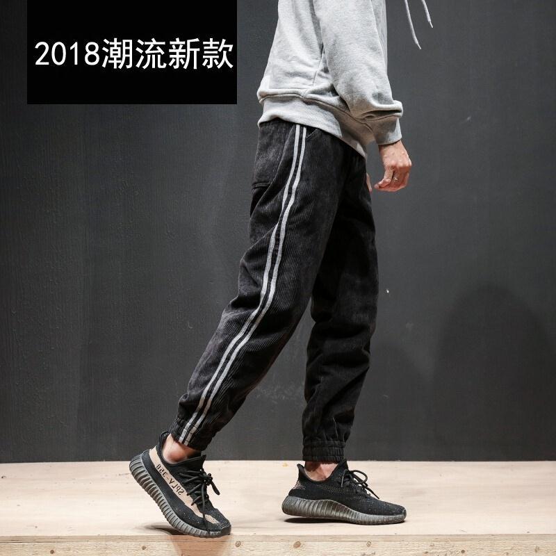 2018秋季新款is超火的加绒加厚休闲裤男