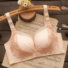 夏季肤色薄款内衣少女无钢圈小胸加厚蕾丝性感聚拢文胸罩白色上托图片