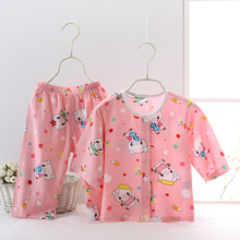 夏季儿童睡衣服套装女童宝宝棉绸婴儿绵绸空调服男童幼儿开衫薄款