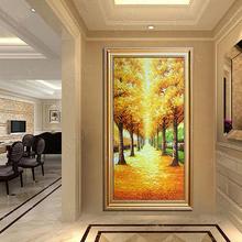 饰画竖版 立体手绘油画家居玄关走廊挂画现代装 黄金大道 有框壁画