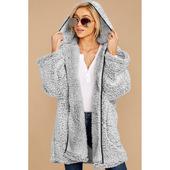 纯色休闲外套女宽松85279 加厚冬季新款 毛呢外套女中长款 欧美跨境图片