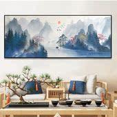 新中式手绘油画客厅装饰画横版书房餐厅挂画中国风山水风景壁画