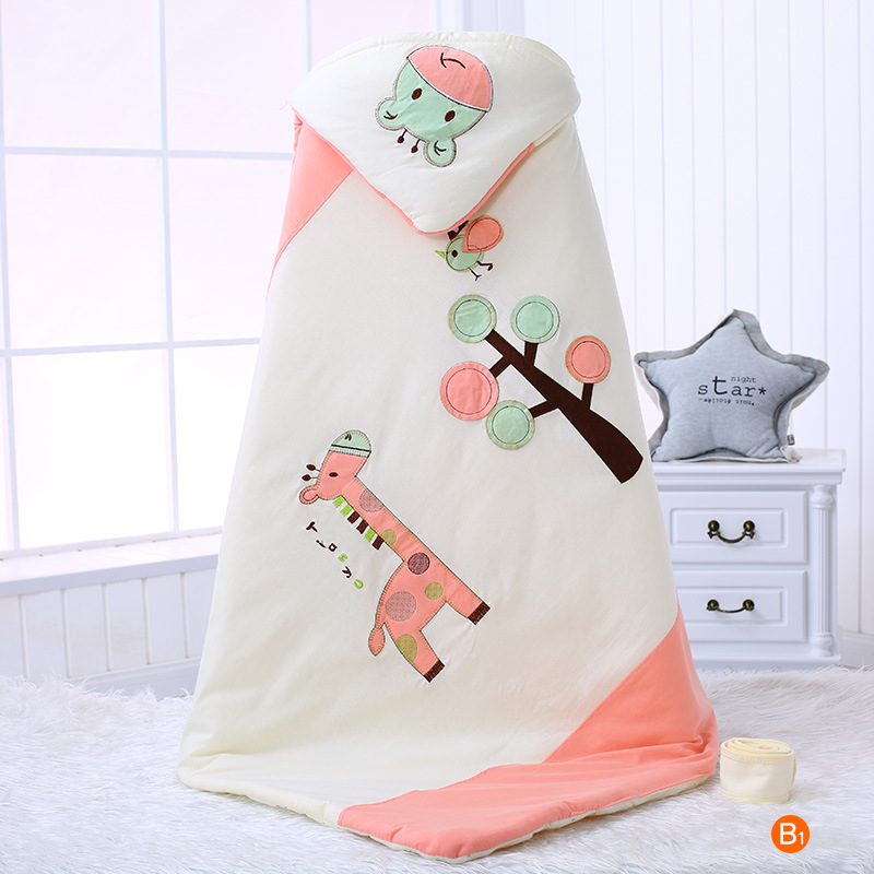 春款婴儿纯棉抱被彩棉薄棉保暖包被宝宝抱毯新生儿卡通绣花可脱胆
