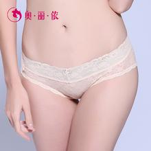 奥丽侬 女士内裤纯棉低裆蕾丝中腰大码女式半透明性感三角裤头图片