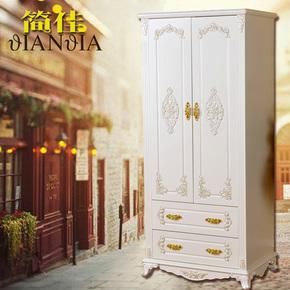 欧式衣柜卧室小户型单人两门衣柜白色衣服柜简约现代儿童衣橱