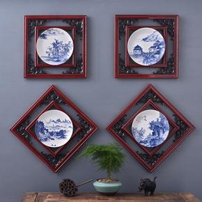 新中式山水木框陶瓷挂画家居装饰品茶楼饭店玄关客厅背景墙壁挂件