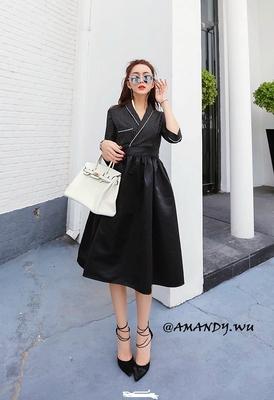 2018秋装新款交叉西装V领七分袖白边条纹高腰蓬蓬裙小礼服连衣裙