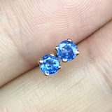 18k yellow gold with natural sapphire earrings, versatile exquisite light luxury round stud earrings