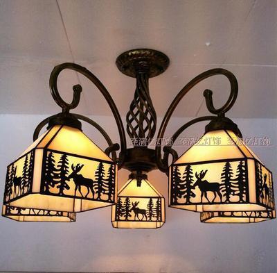北欧风灯饰家装麋鹿多头吸顶灯3-5头美式乡村复古餐厅客厅卧室书品牌巨惠