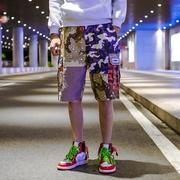 夏季国潮陈冠希个性拼接工装短裤男潮牌迷彩短裤学生余文乐五分裤