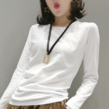 Korean Spring New T-shirt with Long Sleeves and Round Neck