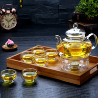 Heat-resistant glass tea tea set transparent glass fruit teapot household candle heating flower teapot cup thick