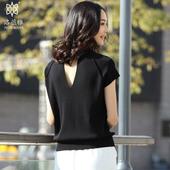 春夏装天丝针织短袖女宽松套头圆领半袖针织衫黑色小心机上衣女