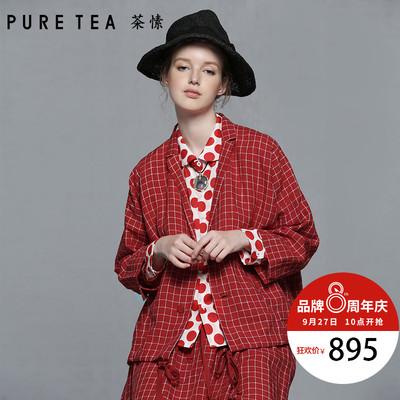 PURE TEA/茶愫 有机亚麻格纹短外套女休闲轻正装秋装新款