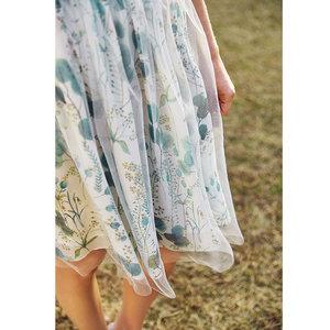 DArtka阿卡夏装2018新款花卉印花网纱双层蓬蓬裙半身裙女QA10187X